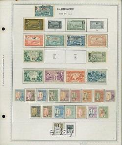 1876 1947 Guadeloupe Mint & Used Stamp Collection on Album Pages Value $2,065