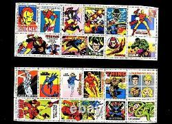 1976 official Marvel Comic complete Stamp set 6 mint sheets + album Marvelmania