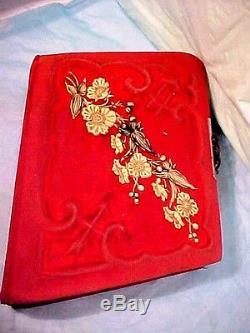 ANTIQUE RED Velvet Photo Album Stamped Patented June 6. 1882 UNIQUE SLANT COVERS