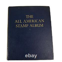 All American Stamp Album Minkus 1847-1969 Includes Over 800 Stamps Collection