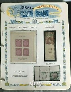 Beautiful Israel Mint Nh Tab Stamp Collection 1948-71 In White Ace Album/binder