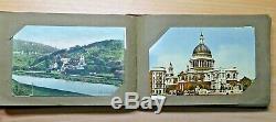 C1910 Antique post card album OVER 90! Rare STAMPS Handwriting CHURCHES Travel