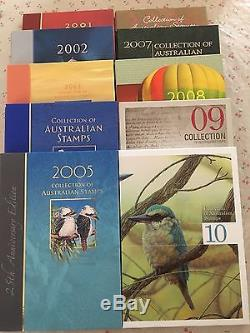 Collection of 2001 To 2010 Australian Post Year Book Album with Stamps Deluxe