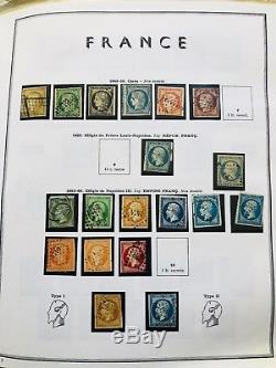 Collection timbres de France 2 albums 1849 à 1992 dt Y&T 1à6, bordeaux, lettres+