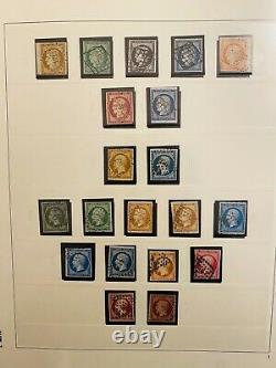 Collection timbres de France en 3 albums 1849 à 1970 dt n°1à6,18,39à48, BF1/2/3,3