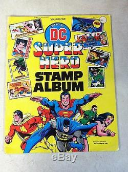DC SUPER HERO STAMP ALBUM 1976 ALL STAMPS but 1, SUPERMAN Batman WONDER WOMAN