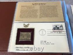 Golden 22KT Replicas U. S. Stamps, Album Collection FDC 1982-1983, Places, Events