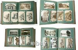 Great 1906 pre-WWI 282 x Postcards Full Album Street Stamps Love Animal American