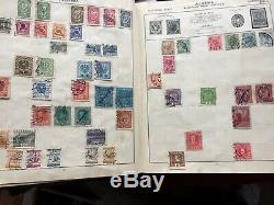 Old Triumph Stamp Album, 10 maps, QV GEO V, 1600 + GB WORLD collection 1935 VG