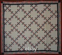 POSTAGE STAMP ANTIQUE QUILT 19thc RED WHITE BLUE NINE PATCH FAB BORDER