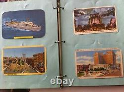 Post Card Album With 141 Postcards Most Filled Out With Stamps