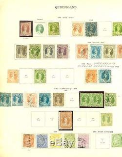 Queensland 1860-1908 collection on album pages. Mint & used. Nice range of