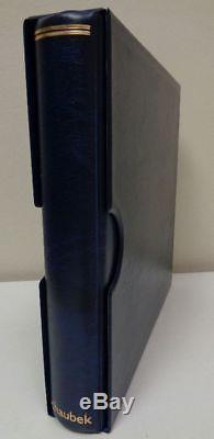 Schaubek Senator Hingeless Stamp album collection 6 ring binder & slipcase blue