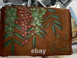 Souvenir POSTCARD ALBUM EARLY Stamps California Painted Cover Travel Journal