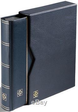 Stamps Collecting Album Premium Leather Stockbook + Slipcase 9 x 12 64 Black Pgs