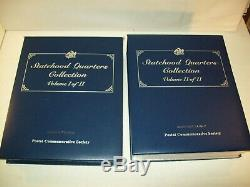 Us Statehood Quarters Collection Volume 1 & Volume 2 Albums Stamps Coins