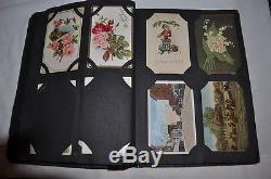 Vintage 90 POSTCARDS + ALBUM CHRISTMAS BIRTHDAY EASTER German STAMPS 1910 +