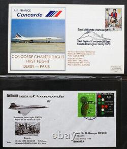 Worldwide Stamps Concord SST Unique Flight Cover Collection of 235+ in 4 Albums