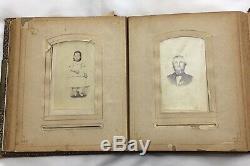 Album Photos En Cuir Victorien Des Années 1800 Timbres Américains Des Années 1940, Nickel De Buffalo Et 1906 V