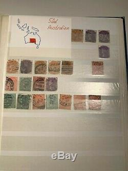 Australie Et Asie Old Stamp Album Britannique Beaucoup Reine Victoria Timbres