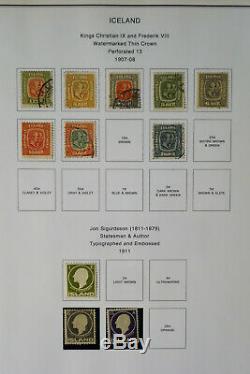 Collection De Timbres Solides De L'islande Des Années 1800 Aux Années 1990 Dans Un Album Spécialisé