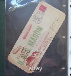 Collection Zeppelin Originale! Album Des Années 1930 Avec Rare Postal History Uss Macon Akron