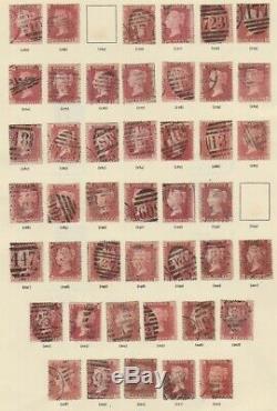 GB Qv 1864-1879 1d Collection De Plaque Rouge Sur 4 Pages D'album Inc Quelques Mng