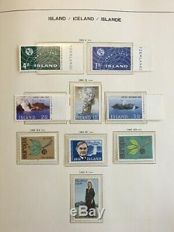 Islande Précieuse Collection De Menthe Logée Dans 300 $ + Schaubek Album 55 Pix Sans Charnière