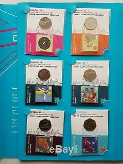 Londres 2012 Jeux Olympiques Et Paralympiques 50p Pièces Et Collection De Timbres Dans L'album