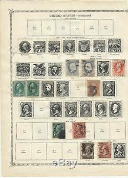 Lot De 5 Pages De Début 1867 Collection Us De Timbre Sur L'album Feuille Une Surimprimées