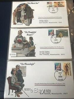 Norman Rockwell Commémorative Collection Couverture Couverture 100 Stamp Set In Album