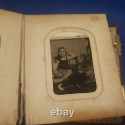 Rare Vintage Photo Album With Tin Type Photos 1866 Timbre Antiquaire