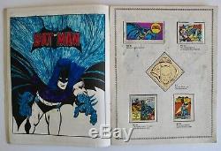 Vintage 1976 Officiel DC Super Hero Stamp Album Comic Book Tous Timbres Attached
